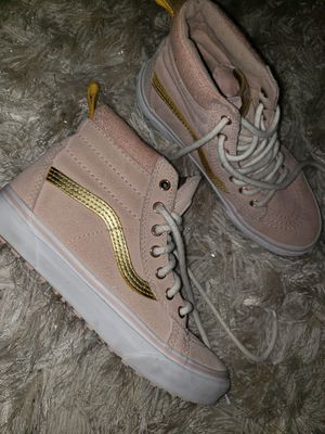 Pink Gold Vans high top size 5 for Sale in Taylor Lake Village, TX