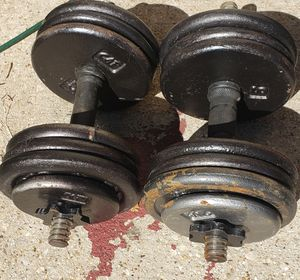 A PAIR OF 35 POUND ADJUSTABLE DUMBBELLS ( 70 POUNDS TOTAL) for Sale in Fort Worth, TX