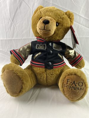 "NWT FAO 14"" Teddy Bear Brown Tan Plush Stuffed Animal w/jacket R.H. MACY & CO. for Sale in Hesperia, CA"