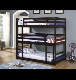 Brand New! Triple Bunk Beds in Expresso for Sale in La Vergne, TN