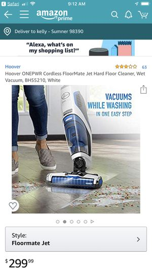 Hoover ONEPWR Cordless FloorMate Jet Hard Floor Cleaner, Wet Vacuum, for Sale in Scottsdale, AZ