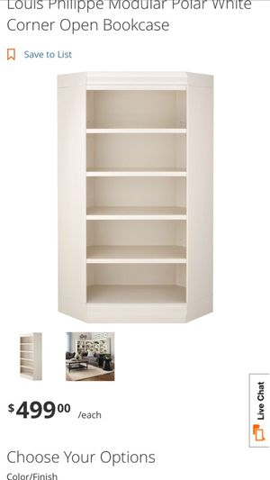 Louis Philippe Modular Polar White Corner Open Bookcase for Sale in Imperial Beach, CA