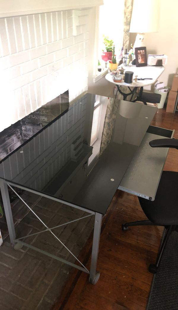Glass top desk and chair.