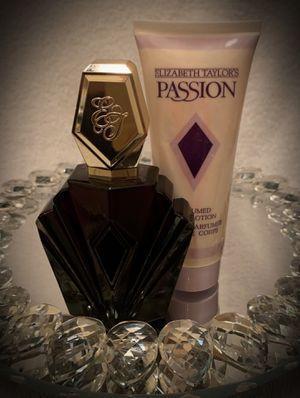 Women's SET Elizabeth Taylor Passion Eau de Toilette EDT 2.5 fl oz/74ml AND Perfumed Body Lotion 3.3/3.4 fl oz/100ml NEW NWOB for Sale in San Diego, CA