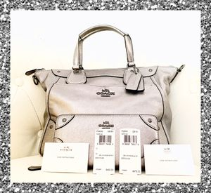 AUTHENTIC SILVER LEATHER MIKIE COACH SATCHEL PURSE & WALLET for Sale in South Plainfield, NJ