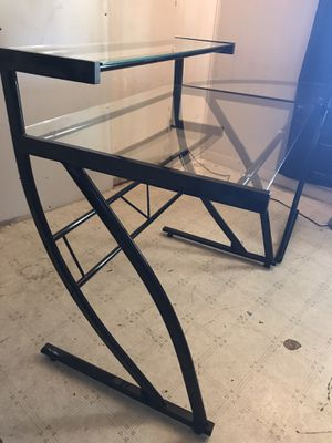 Black Glass L Shaped Desk Computer Table for Sale in Phoenix, AZ
