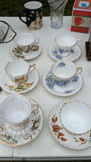6 fine bone china cups and saucers for Sale in Puyallup, WA