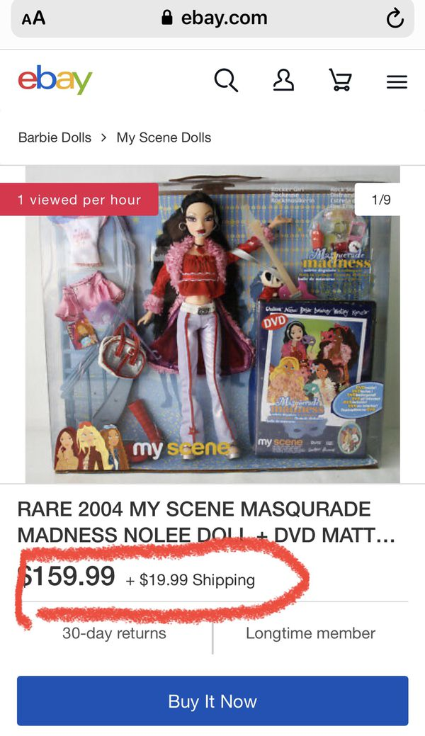 "RARE 2004 VINTAGE FIGURES MY SCENE ""MASQURADE MADNESS"" ROCKER GIRL NOLEE DOLL + DVD ENGLISH edition by Mattel ! Barbie dolls collection"