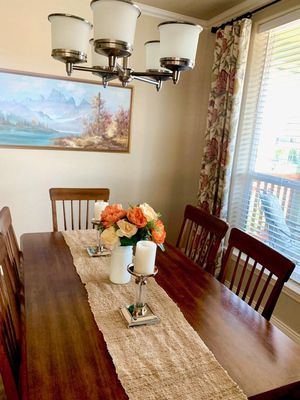 Dining room set with brown cushioned chairs for Sale in Portland, OR