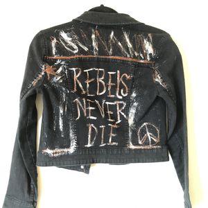 Punk Rock Handpainted black denim jean jacket for Sale in San Diego, CA