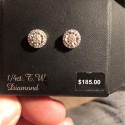 Brand New Never Worn Sterling Silver 1/4 Ct Diamond Earrings for Sale in Bainbridge,  NY