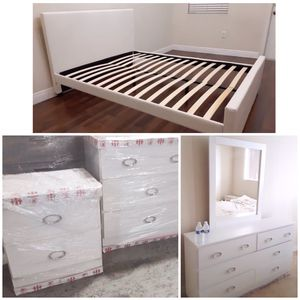 New queen bed frame mirror dresser and one nightstand mattress sold separately for Sale in Lake Worth, FL