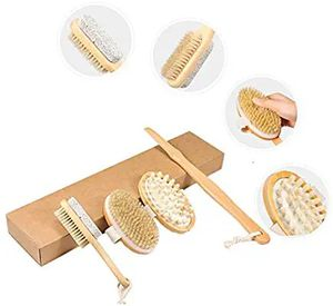 Dry Brushing Body Brush Set,XinFun 100% Soft Natural Bristle Long Wooden Handle Back Scrubber Massager & Face Exfoliator Improve Blood Circulation for Sale in Altamonte Springs, FL