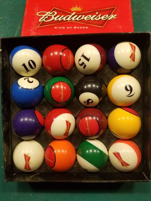 Budweiser billiard ball set for Sale in Colorado Springs, CO