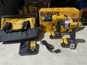 Dewalt Drill/Driver/ Impact Driver Combo Kit with 2 Batteries & Charger for Sale in Ontario, CA