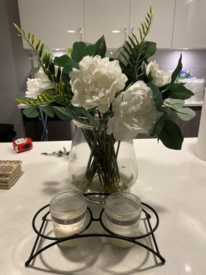 Vase with artificial flowers and candle holder for Sale in Boca Raton, FL