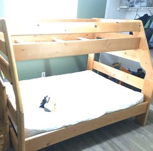 Bunk bed - twin top/full bottom, dresser, & full mattress (delivery/setup available) for Sale in Corona, CA