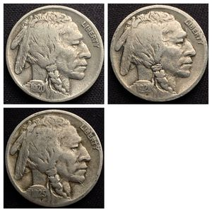 1920, 1921, 1925 Buffalo Nickels - Nice! for Sale in St. Charles, IL