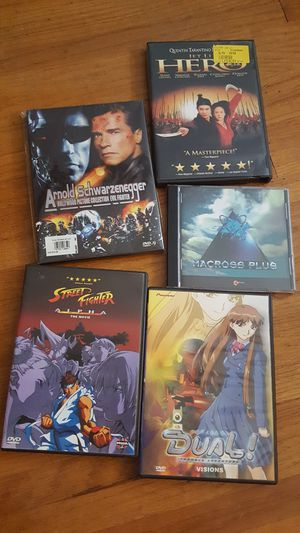 assorted dvds and macross plus cd (anime, arnold, hero) for Sale in Westgate, NY