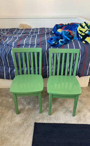 2 green wood kids / toddler children's chairs for Sale in Irvine, CA