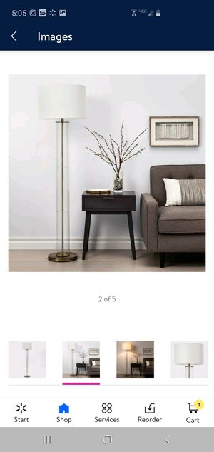 Brass Clear Column Floor Lamp with Gold Brass Pole. Below retail price retails for $105 after tax selling for $70 for Sale in Hesperia, CA