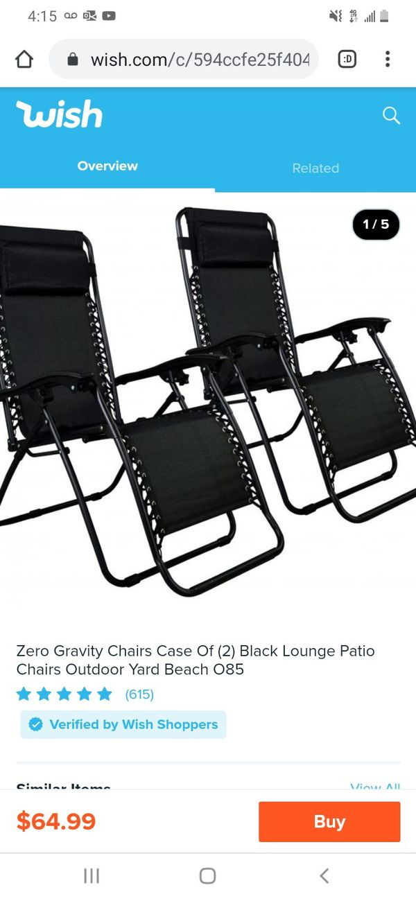 Set of 2 lawn chairs zero gravity black new