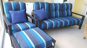 New Patio Furniture set 3 marine blue $2400. MINT for Sale in Pompano Beach, FL