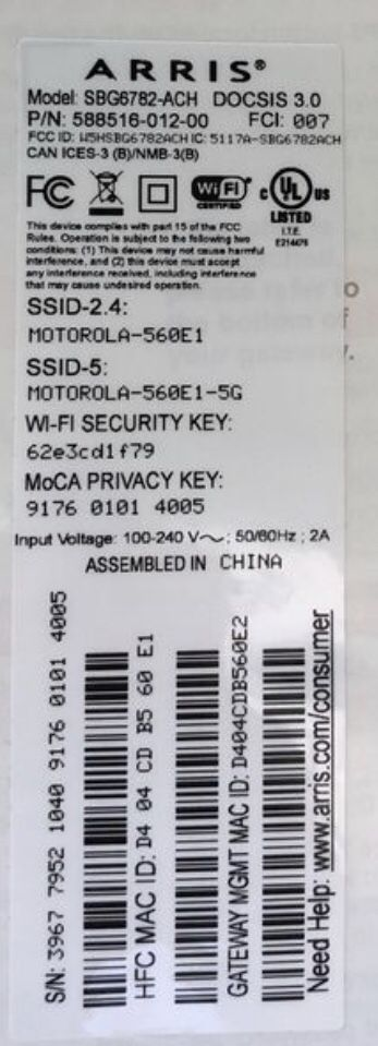 Arris SURFboard SBG6782-AC Internet Modem