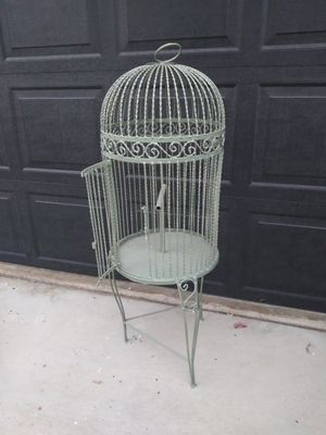 """Vintage 43"""" tall 16"""" wide painted steel bird cage for Sale in Corona, CA"""