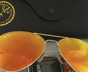 Ray Ban Aviators 112/69 Flash Orange & Gold Frame Classic Lenses Aviator Sunglasses 100% UV Protection 58mm for Sale in Orlando,  FL