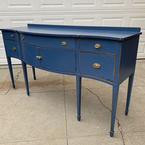 Awesome blue and gold shabby distressed cabinet drawer shelf entryway table side table buffet credenza for Sale in San Diego, CA