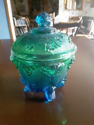 Blue green Carnival glass piece for Sale in Rustburg, VA