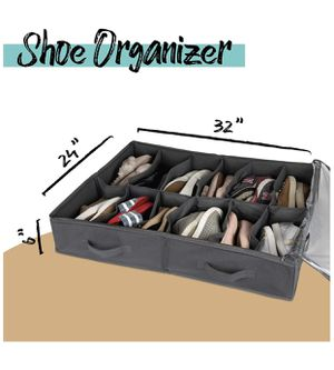 Brand new Under Bed Shoe Storage Organizer -Fits Shoes Up to Size 12-– Sturdy Sides + 12 Inserts for Stiffness - Plastic Zippered Cover –Closet Stora for Sale in Kirkland, WA