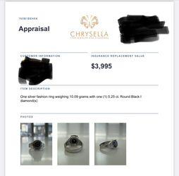 Gorgeous Black Diamond Stone 5.5ct Mens Ring In Silver for Sale in Arlington,  VA