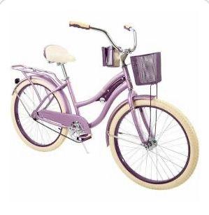 Purple huffy beach cruiser