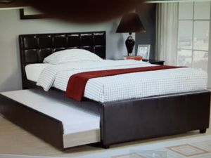 New Full Bed Frame w/ Twin Trundle $399 for Sale in San Bernardino, CA