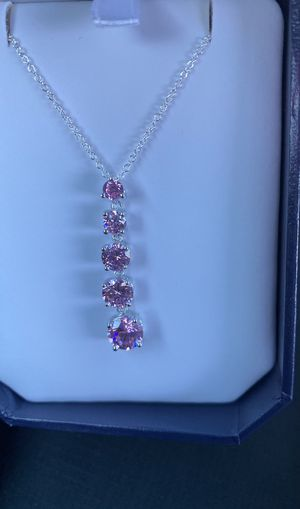 Sterling silver Pink 5 stone necklace / message for price for Sale in Cayce, SC