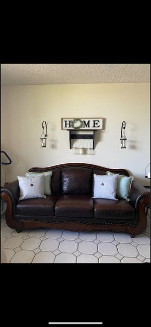 Leather and solid wood sofa and loveseat and 2 matching end tables $500 for everything for Sale in West Miami, FL