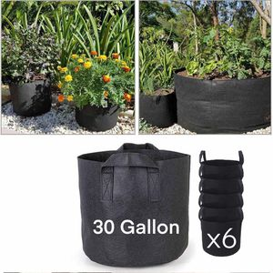 30 Gallon 6-Pack Planting Grow Bags Black Fabric Grow Pots for Hydroponic Indoor Plant Growing Plant Bag for Sale in Ontario, CA