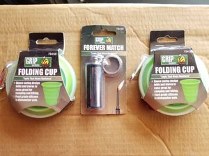 2 SILICONE FOLDING CUPS & FOREVER MATCH for Sale in Montgomery, AL