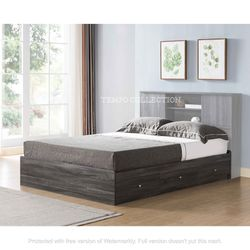 NEW,TWIN BOOKCASE HEADBOARD BED WITH 3 DRAWERS, DISTRESSEDGREY, SKU#TCY5201T for Sale in Westminster,  CA