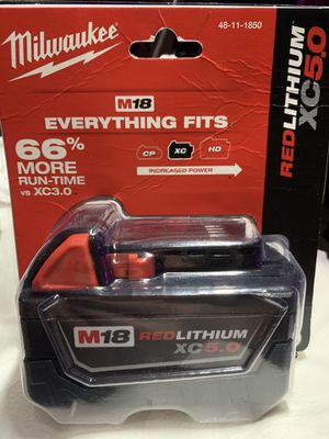2–M18 Milwaukee 5.0AH RedLithium XC batteries for cordless power tools for Sale in Portland, OR