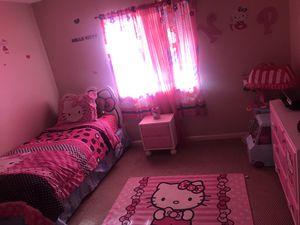 Selling hello kitty bed set (head board , dresser, night stand ,mirror ,curtains ) can also have rugs but not in the best condition can also have bed for Sale in Fort Myers, FL
