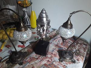 ANTIQUE Mediterranean tear drop glass lamps all brass for Sale in Las Vegas, NV