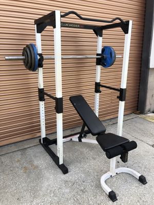Full Squat / Power Rack w/ Adjustable Bench, 265 Lb Olympic Weight Set Complete Home Gym for Sale in Davenport, FL