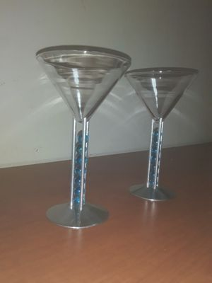 Collectable Art Martini Glass Set ~RARE~ (New Never Used)~ Designed by Patricia Heller exclusively for Bombay Sapphire Gin Company ~ 1999 Edition for Sale in Fairfield, OH