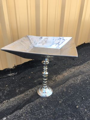 Bird Bath-neat square metal Dish with mother of pearl stand .....simple for Sale in Bayfield, CO
