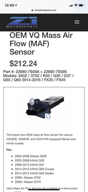 OEM VQ MAF SENSOR for g35/g37/350z/370z etc. for Sale in Monterey Park, CA