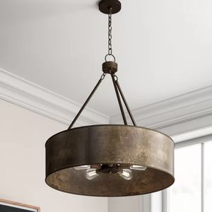"5-light shaded drum chandelier in a dark weathered brass finish. Min height is 30"". Max height is 76"". 30"" W. MSRP $480. Our price $145 + sales tax for Sale in Woodstock, GA"