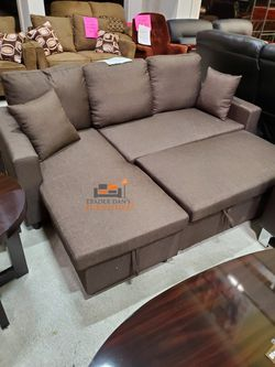 Brand New Brown Linen Reversible Sectional Sleeper Sofa w/Storage Chaise for Sale in Silver Spring,  MD